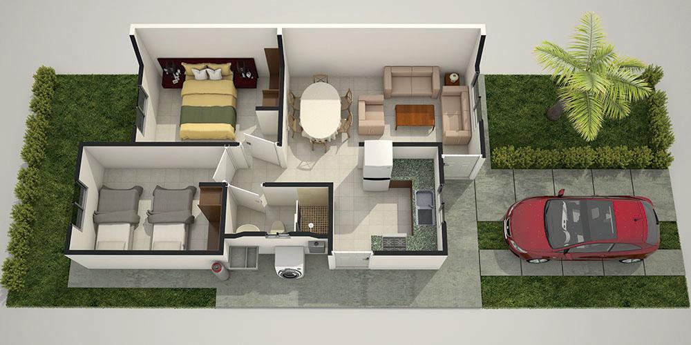 Decoraci n para una casa de infonavit de 50 metros for Decoracion de casas de 40 metros cuadrados