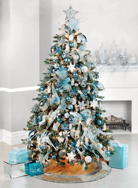 arbol de navidad plata y azul