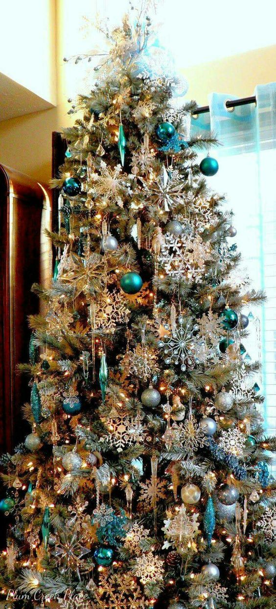 arbol navideno turquesa y dorado