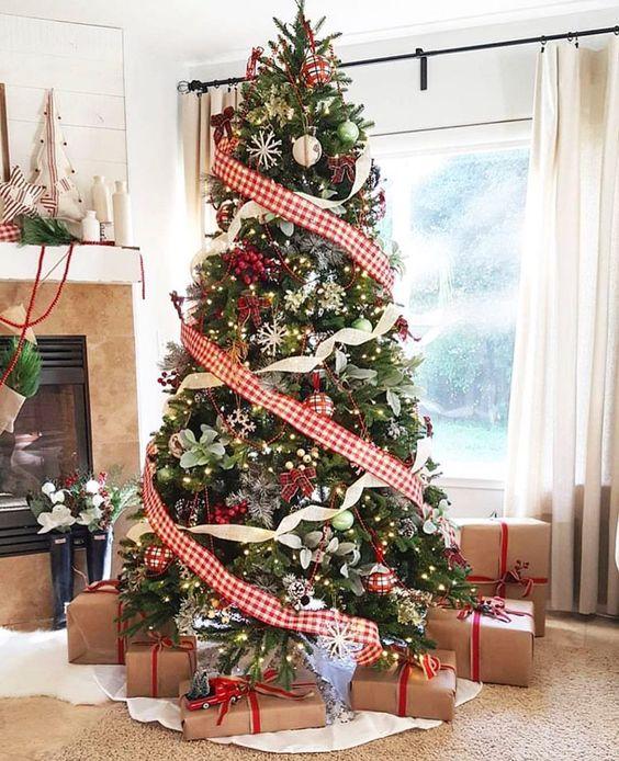 arboles de navidad con listones