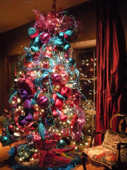 arboles de navidad con brillos