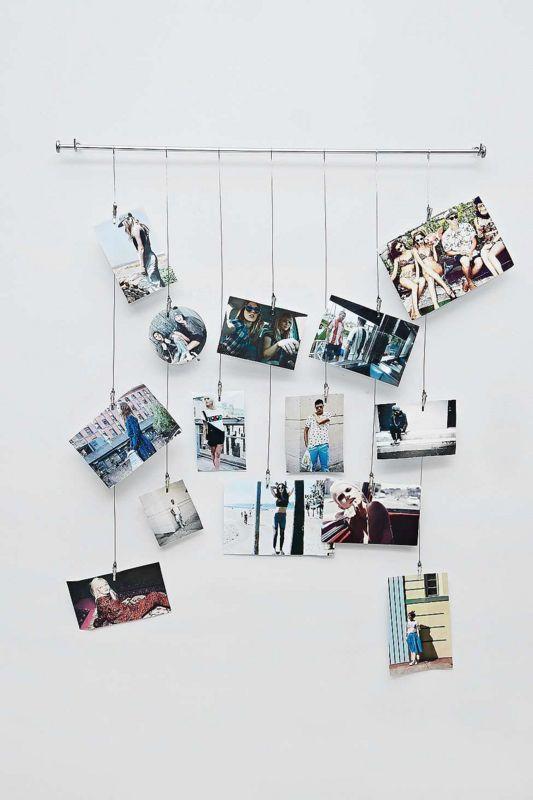 decora tu pared con alambre y fotos