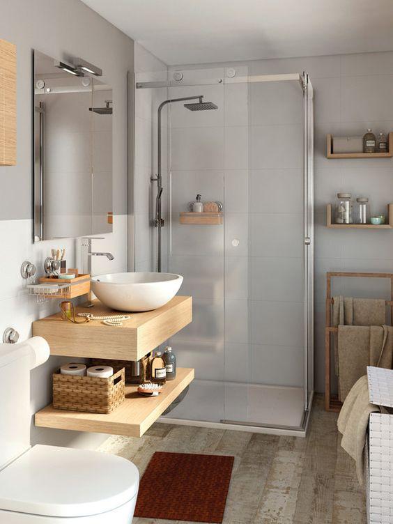 repisas o ganchos para decorar el baño o ducha