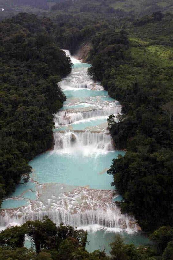 cascadas agua azul en palenque chiapas