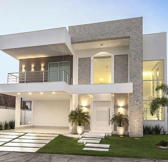 fachada con piedra y cemento