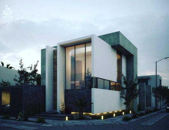 fachada con piedra y vidrio