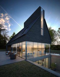 fachada con vidrio y madera