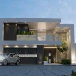 Fachada de cemento con vidrio