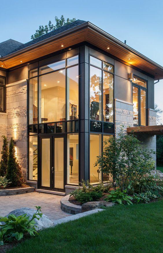 fachada de vidrio con cemento