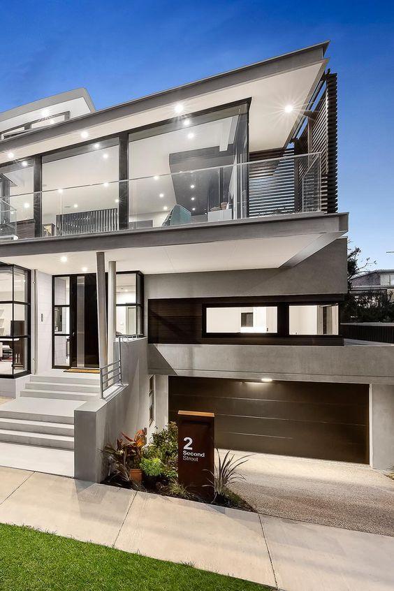 fachadas con vidrio, metal y cemento