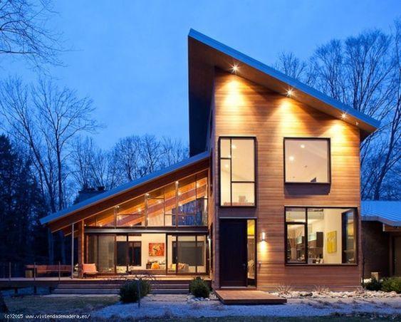 fachadas de madera con cemento