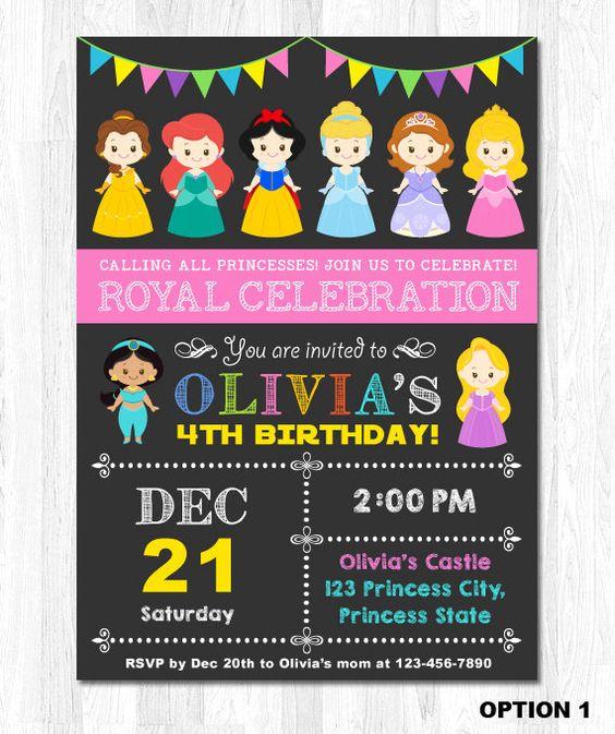 Invitaciones con tema de princesas Disney