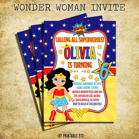 Invitaciones para fiesta tematica de la mujer maravilla