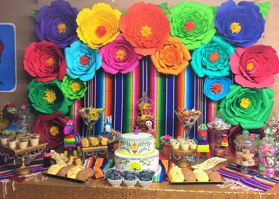 Mesa de postres con tema mexicano