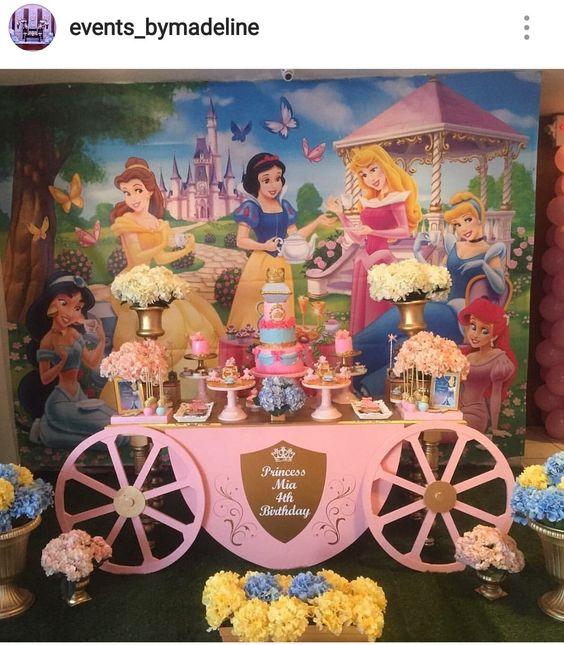 Mesas de postres con tema de princesas Disney