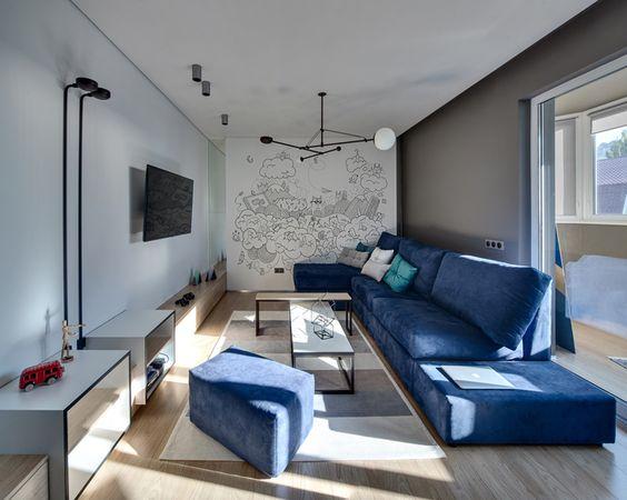 Salas decoradas en espacios alargados 3 curso de for Salas alargadas