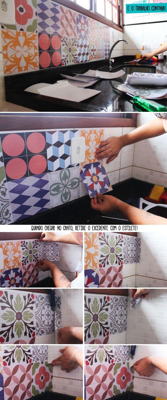 Ideas de decoraci n y como renovar la cocina - Vinilos para azulejos de cocina ...