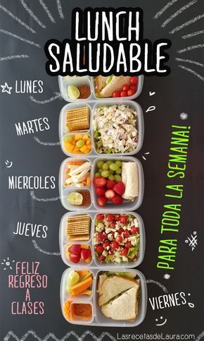 menu para lunch escolar