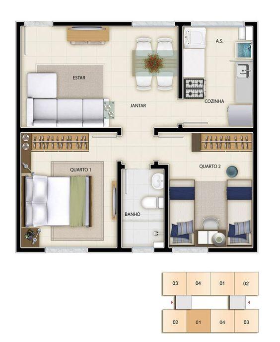 Casas de dos recamaras construye tu casa y fachada for Plano casa 2 dormitorios