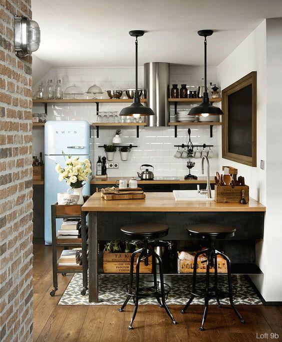 Cocinas pequeñas estilo industrial
