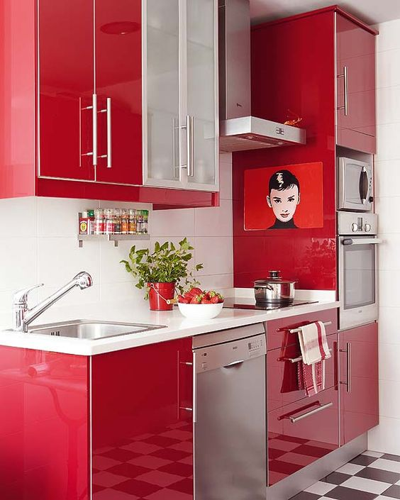 Cocinas peque as modernas 2018 de 150 fotos e ideas - Cocinas rojas ...