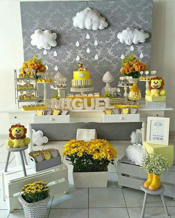 decoracion baby shower leon