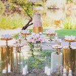 decoracion de fiestas mesa de pastel de herreria y acrilico