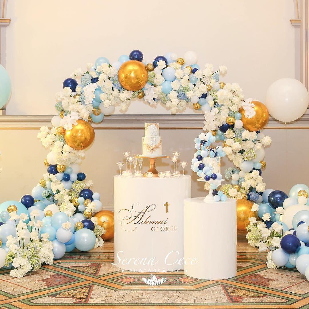 decoracion fiesta guirnalda con globos dorados 2018 2