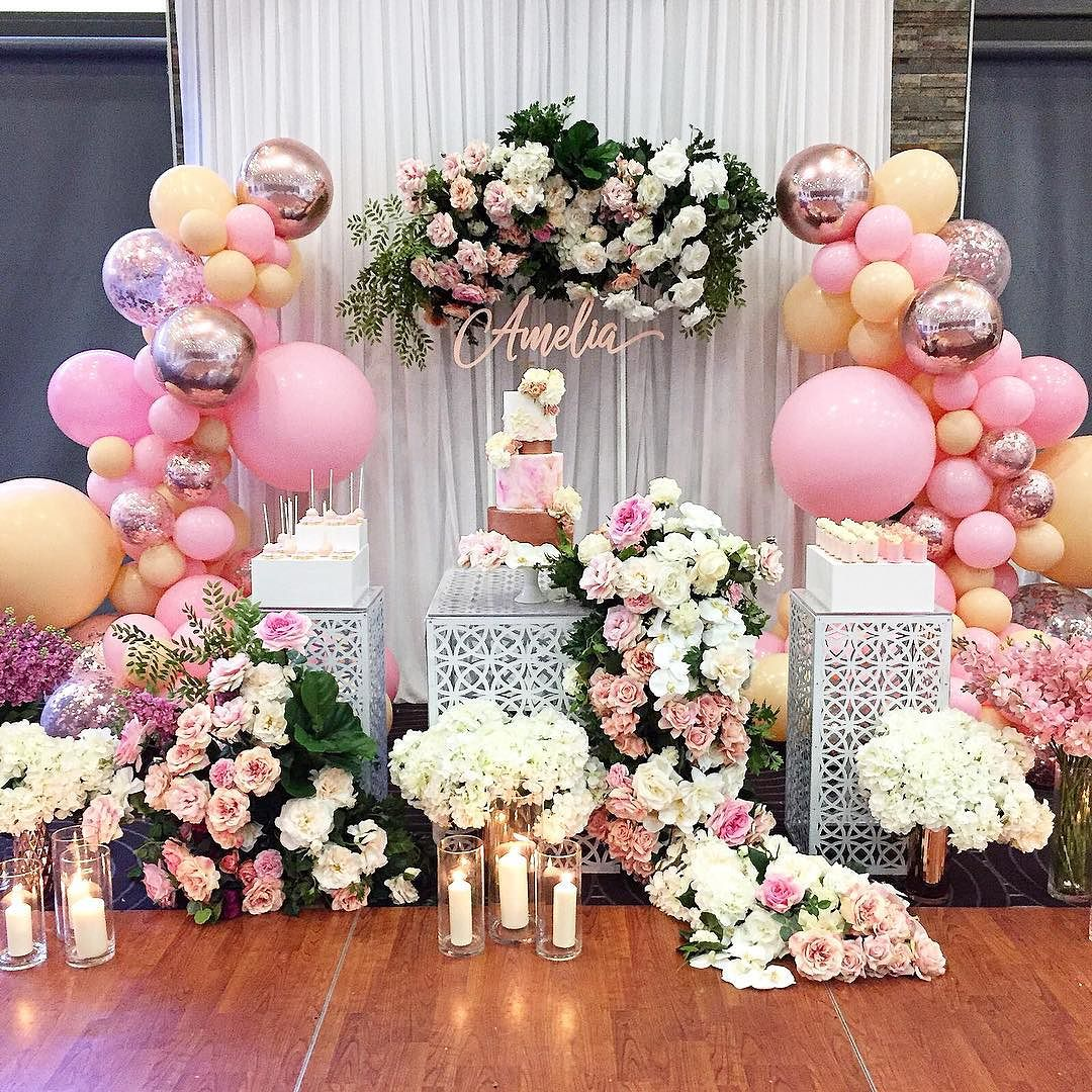 decoracion guirnaldas con globos color plata 2019