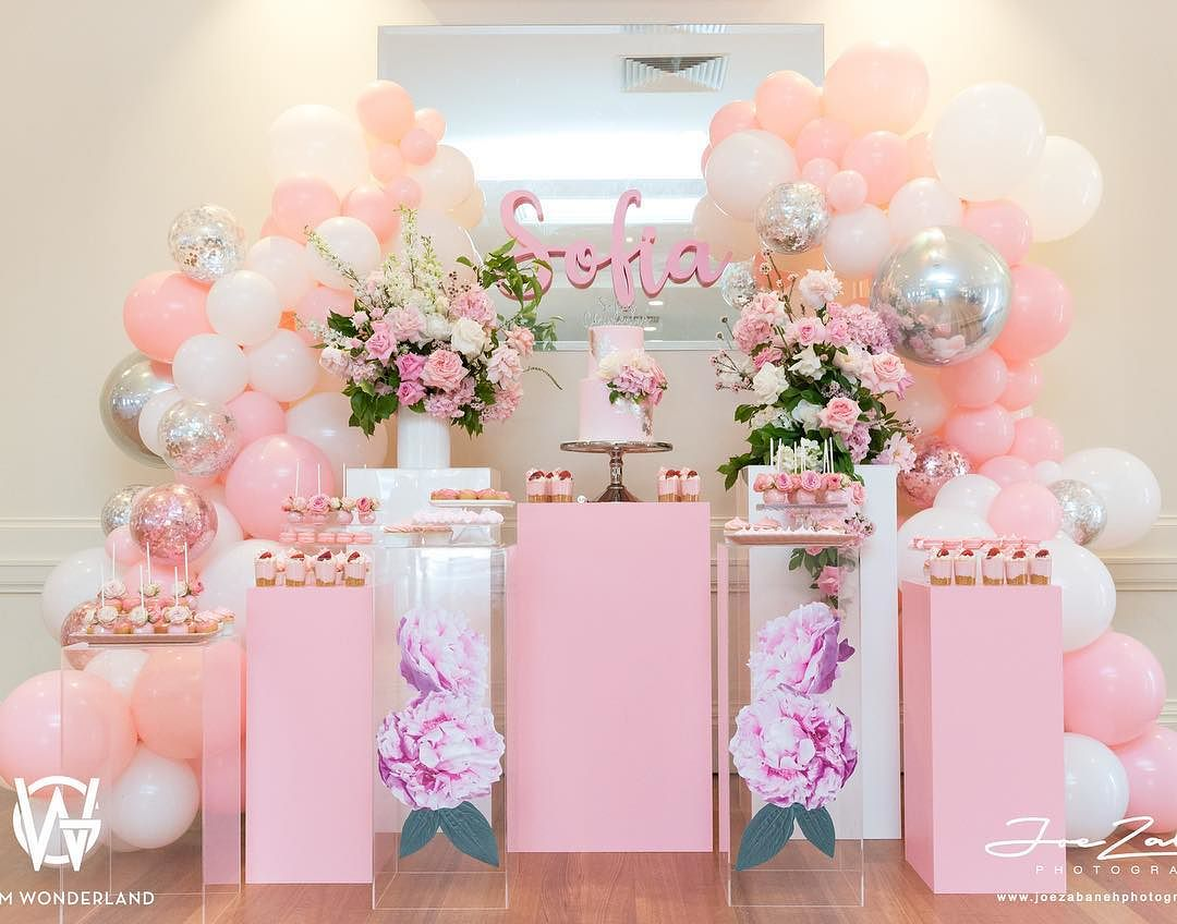 decoracion guirnaldas con globos color plata 2019