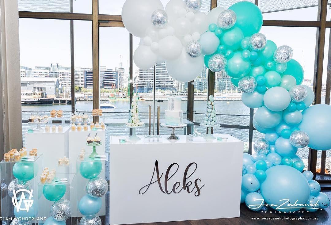 decoracion guirnaldas con globos color plata 2018