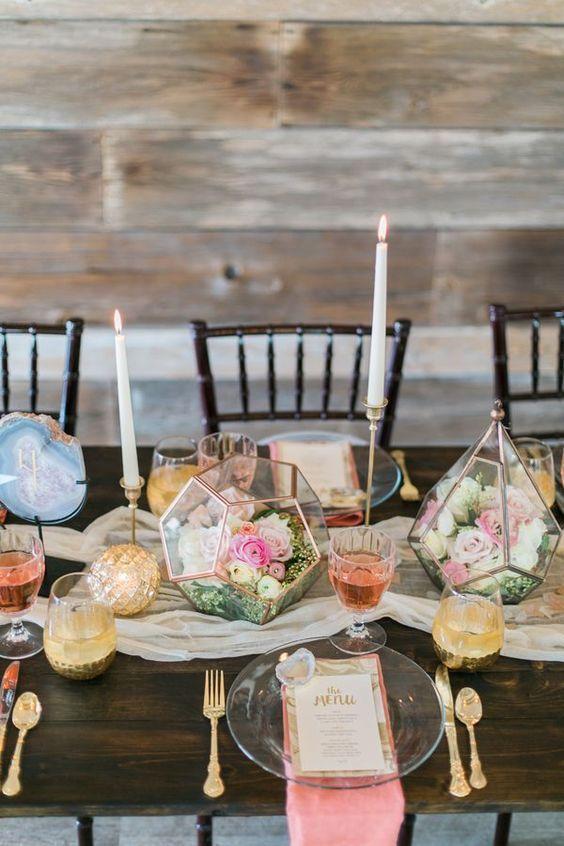 decoracion rosa cuarzo para fiestas 2019