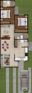 plano casa 2 dormitorios 2 banos