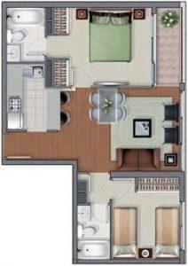 plano casa 2 dormitorios 2 banos (4)