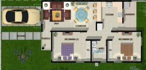 plano de casa de dos recamaras
