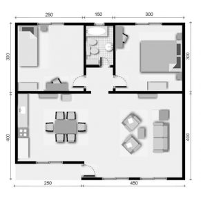 planos de casas de un piso 2 dormitorios (2)