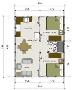 planos de casas de un piso 2 dormitorios y un bano (10)