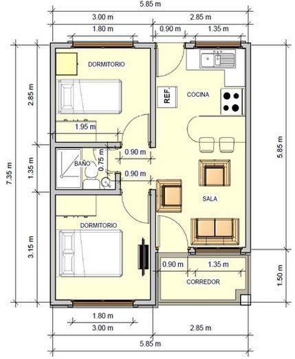 planos de casas de un piso 2 dormitorios y un bano (2)