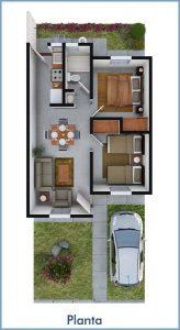 planos de casas de un piso 2 dormitorios y un bano (3)