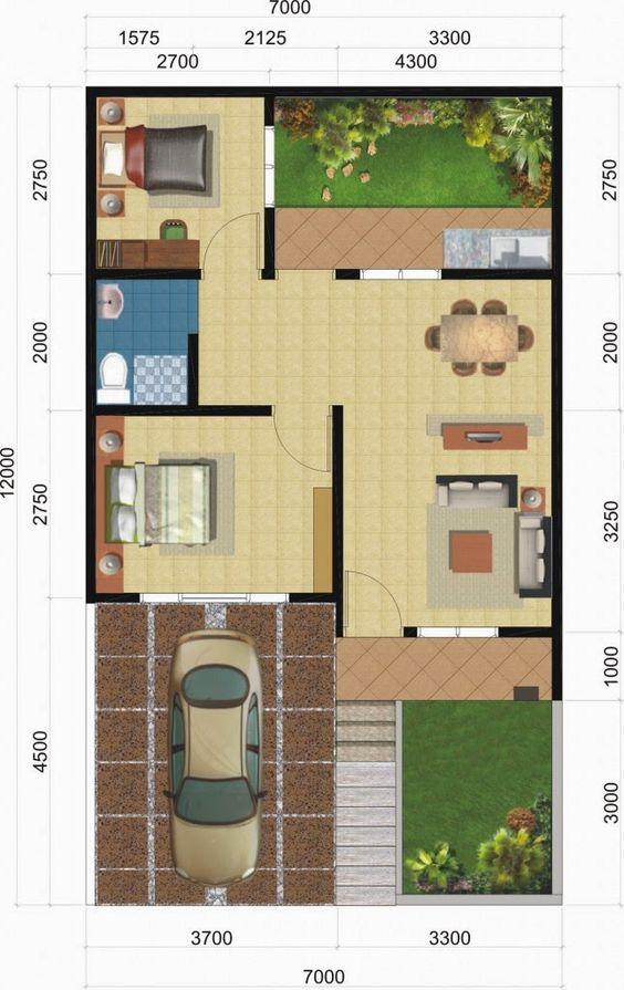 planos de casas de un piso 2 dormitorios y un bano (5)