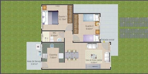 planos de casas de un piso 2 dormitorios y un bano (6)