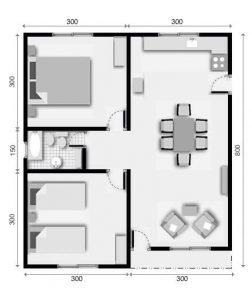 planos de casas de un piso 2 dormitorios y un bano (7)