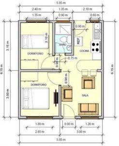 planos de casas de un piso 2 dormitorios y un bano (8)