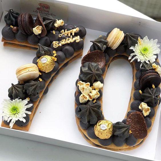 torta en forma de numero 70 para hombre
