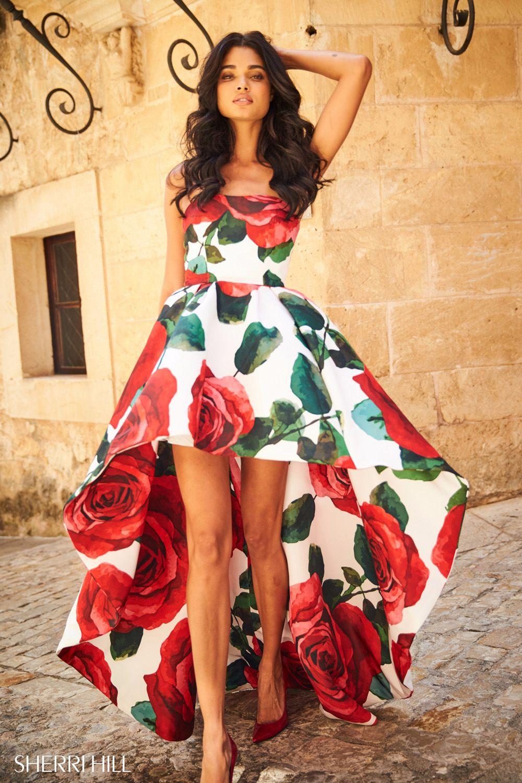vestidos de graduacion con estampados florales 2018 7