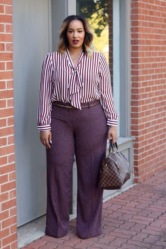 Blusas de moda de oficina para gorditas