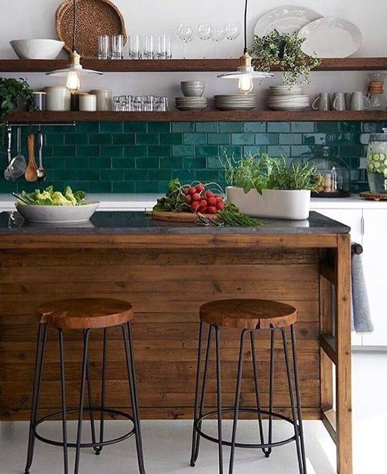 Cocinas con islas de madera