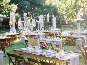 Decoración de la recepcion de una boda boho chic