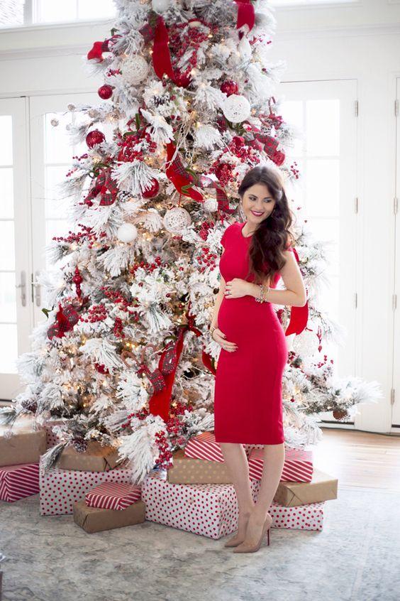 arbol de navidad decorados en color rojo