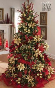 arbol de navidad rojo y dorado